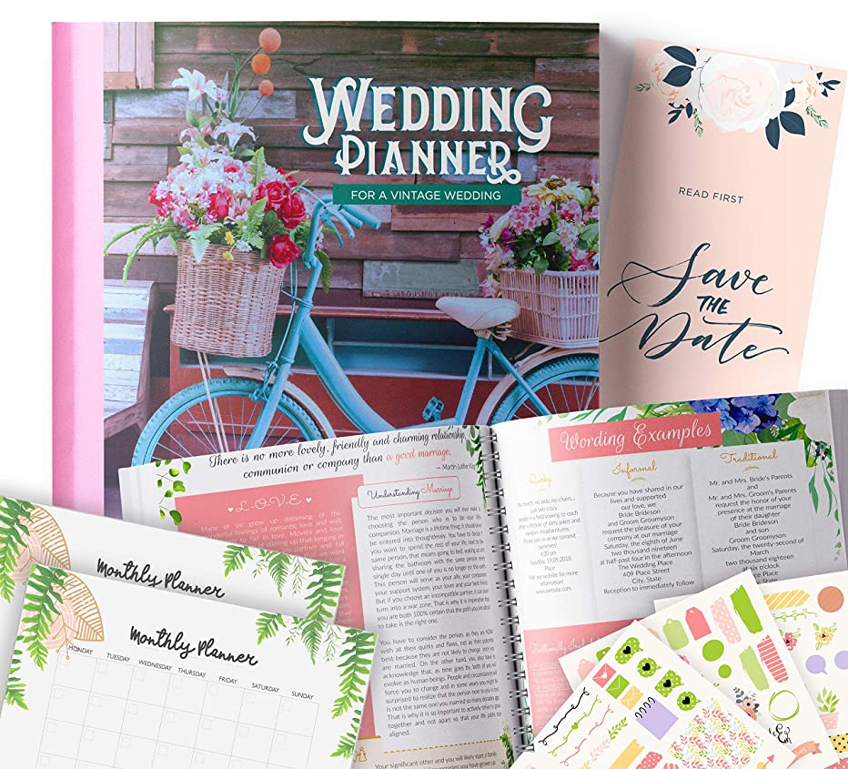 Vintage Wedding Planner   Step-By-Step Binder to Organize Your Dream Day Using Stickers, Photos & Pictures   Journal For Organizing a Wedding by Yourself   Gift for Brides  