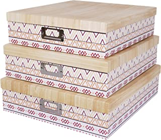 SLPR Decorative Storage Cardboard Boxes with Metal Plate (Set of 3, Ethnic) | Nesting Gift Boxes with Lid for Keepsake Toys Photos Memories Closet Nursery Office Bedroom Decoration