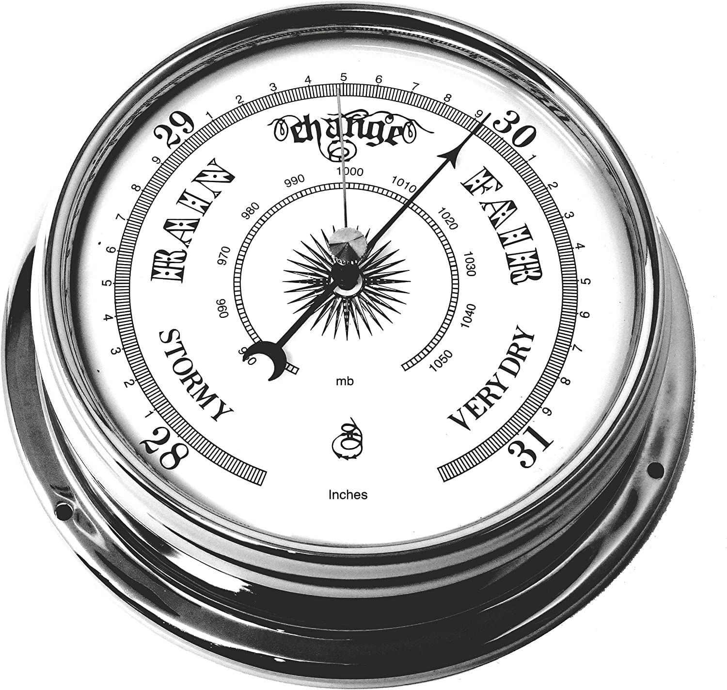 Tabic Traditional Barometer Chrome Las Vegas Mall OFFicial store Heav Brass Plated