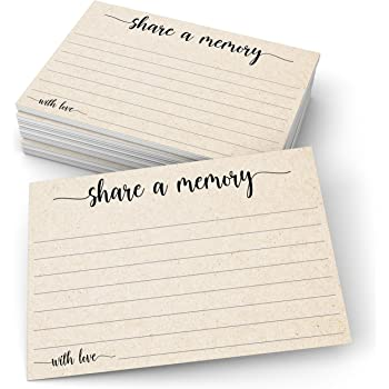 """321Done Share a Memory Card (50 Cards) 4"""" x 6"""" - for Celebration of Life Birthday Anniversary Memorial Funeral Graduation Bridal Shower Game - Made in USA - Kraft Tan"""