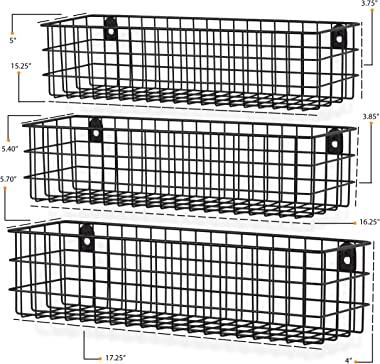 Wall35 Kansas Wall Mounted Black Bookshelf for Kids' Room Decor, Metal Wire Storage Basket Set of 6 (Varying Sizes)
