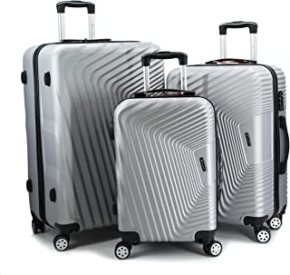 Gosuper luggage travel trolley with 4 wheels 3 pieces set,silver 9003