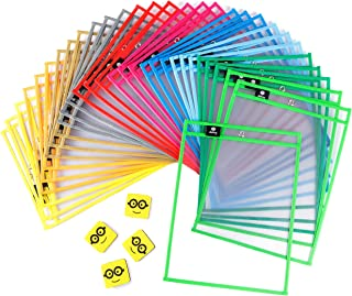 """Dry Erase Pockets Reusable Sleeves - 30 Pack, Heavy Duty Oversized 10x14"""" Clear Plastic Sheet Paper Protectors, 10 Assorte..."""