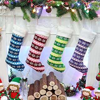 Athoinsu 4 PCS Knitted Christmas Stockings Xmas Holiday Party Season Decor Warm Gifts for Toddler Kids Family Extra Long, 20''