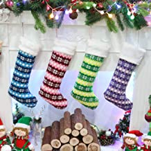 Athoinsu 4 PCS Knit Christmas Stockings Xmas Holiday Party Season Decor Gifts for Toddler Kids Family, 20'' (Style3)