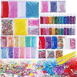 Mumoo Bear 72 Pack Slime Stuff Charms Include Floam Balls, Slime Supplies Kit, Glitter, Cake Flower Fruit Slices, Fishbowl...