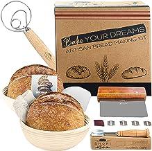 Shori Bake Banneton Bread Proofing Basket Set of 2 Round 9 Inch + Sourdough Bread Making Tools Kit, Baking Gifts for Baker...
