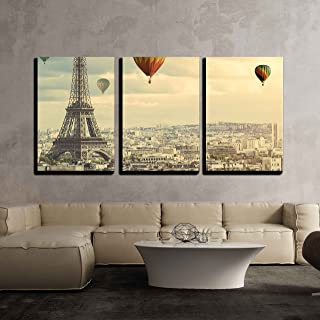wall26 - 3 Piece Canvas Wall Art - Colorful Hot Balloons Flying Above The Eiffel Tower in Paris - Modern Home Decor Stretched and Framed Ready to Hang - 24