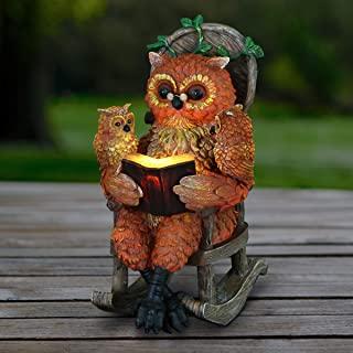 Exhart Solar Owls Reading a Book Garden Statue - Hand-Painted Resin Statue of an Owl and Owlet Reading a Storybook on a Ro...