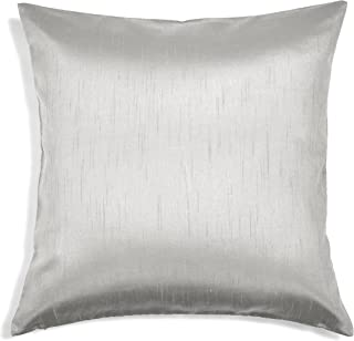 Aiking Home Solid Faux Silk Euro Sham/Pillow Cover, Zipper Closure, 26 by 26 Inches, Silver