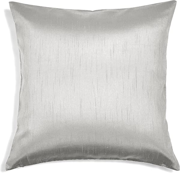 Aiking Home Solid Faux Silk Euro Sham Pillow Cover Zipper Closure 26 By 26 Inches Silver