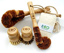 Eco-Aware Natural Bamboo Dish Scrub 4 Piece Brush Set Crafted from Coconut Fibers with Bamboo Handles and 100% Loofah Biod...