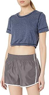 Splendid Women's Studio Activewear Workout Athletic Short Sleeve Crop Top