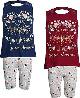 Real Love Conjunto de Traje de Verano de 4 Piezas con 2 Camisetas y 2 Bermudas para niñas
