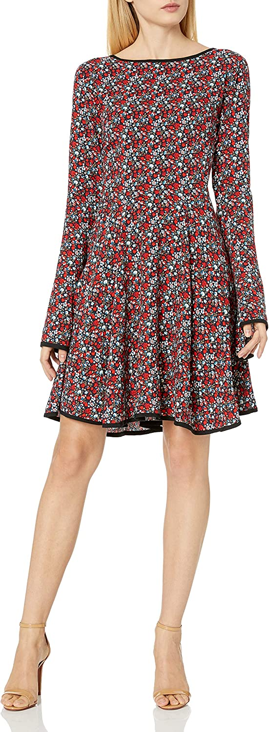 James & Erin Women's Piped Knit Flare Dress