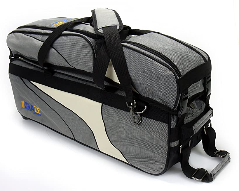 KAZE SPORTS 3 Ball Deluxe Bowling Tournament Roller Tote with Detachable Shoe & Accessory Bag
