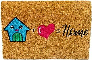 koko doormats felpudos Entrada casa Originales, Fibra de Coco y PVC, Felpudo Exterior House + Love = Home, 40x60x1.5 cm   ...