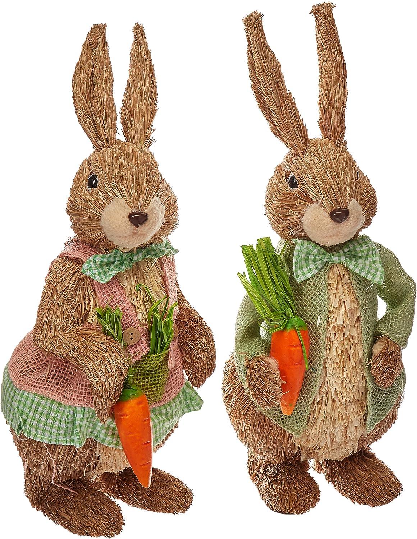 Easter Decor 16  Sisal Bunny Couple Boy and Girl
