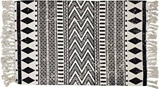 USTIDE Cotton Braided Black&Cream Bohemian Rag Rug Washable Decorative Porch Doormat Hand Woven Tassel Rug, 2'×3'