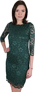 2fa7cd64096a John Zack Dark Green, Floral Lace, 3/4 Length Sleeves, Slim Fit