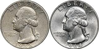 1964 P BU WASHINGTON  QUARTER  SINGLES  90/% SILVER
