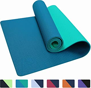 "IUGA Yoga Mat Non Slip Textured Surface, Reversible Dual Color, Eco Friendly Yoga Mat with Carrying Strap, Thick Exercise & Workout Mat for Yoga, Pilates and Fitness (72""x 24""x 6mm)"