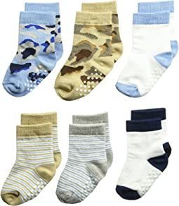 Jefferies Socks - Non-Skid Camo/Stripe Crew 6-Pack (Infant/Toddler)