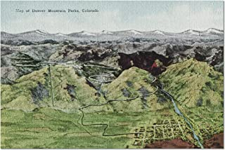 Colorado - Aerial View of Denver Mountain Parks, Map (20x30 Premium 1000 Piece Jigsaw Puzzle, Made in USA!)