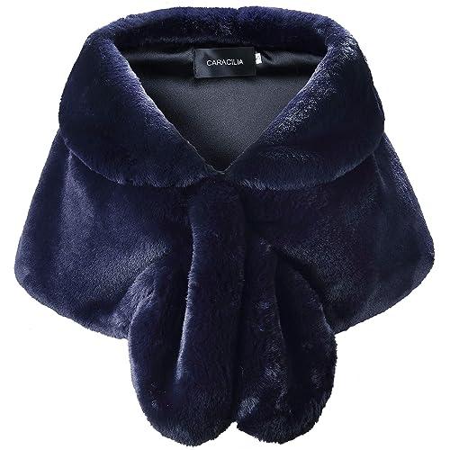 65b57d41fc Caracilia Faux Fur Shawl Wrap Stole Shrug Winter Bridal Wedding Cover Up