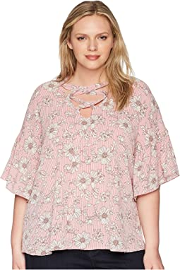 B Collection by Bobeau Plus Size Willa Lattice Tie Blouse
