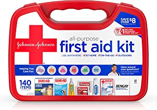 Johnson & Johnson All-Purpose Portable Emergency First Aid Kit for Home & Travel, 140 pc