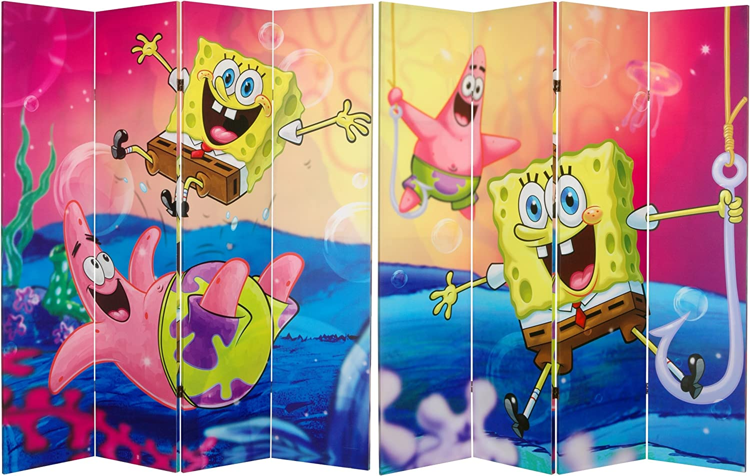 Oriental Furniture 6-Feet Tall Double Sided SpongeBob and Patrick Canvas Room Divider