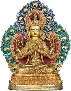 Exotic India Superfine Tibetan Buddhist Deity Four Armed Avalokiteshvara (Chenrezig) Made in Nepal - Copper Sculp