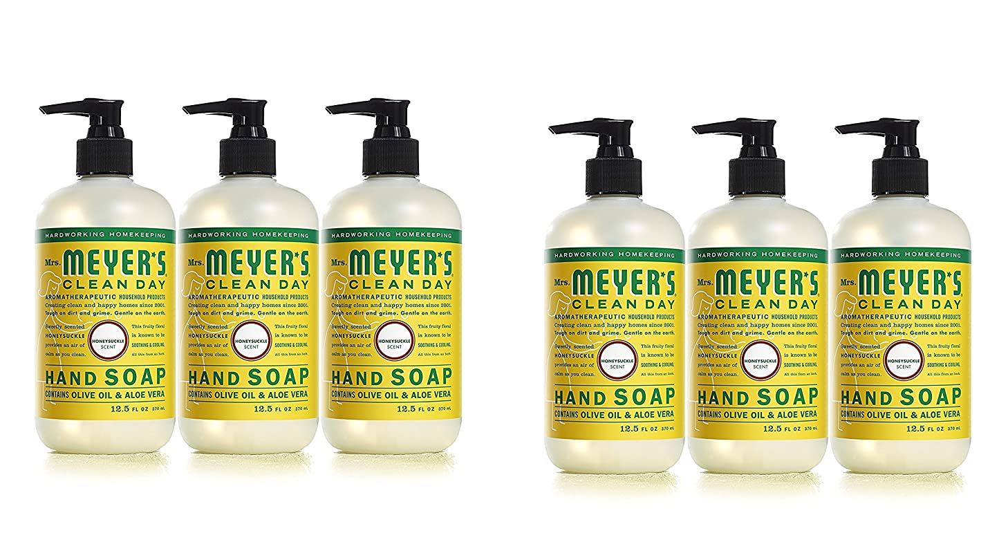 Mrs. Meyers Clean Day Hand Soap, Honeysuckle, 12.5 fl oz each, 6 Pack