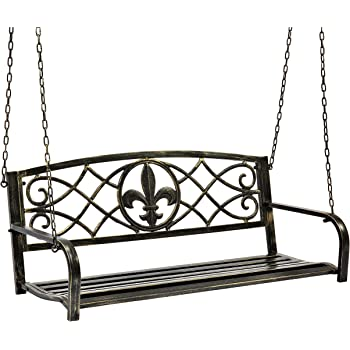 Best Choice Products Outdoor Metal Fleur-De-Lis Hanging Swing Bench w/Weather-Resistant Steel, Bronze