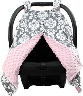 Dear Baby Gear Deluxe Car Seat Canopy, Custom Minky Print Grey and White Damask, Pink Minky