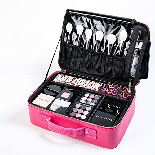 ROWNYEON Makeup Case Travel Makeup Bag Makeup Organizers Bag Makeup Train Case Professional Portable Cosmetic Bag for...