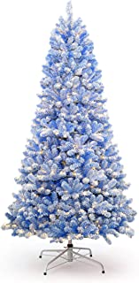 KING OF CHRISTMAS 6.5 Foot Blue Flock Artificial Christmas Tree Pre-lit with 500 Warm White LED Lights