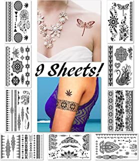 Black Henna Temporary Tattoos for Women Teens Girls - 9 Sheets Black Lace Fake Stickers - Bride Wedding Cool Tattoo Designs Jewelry Tattoos - 100+ Black Flash Realistic Waterproof Transfer