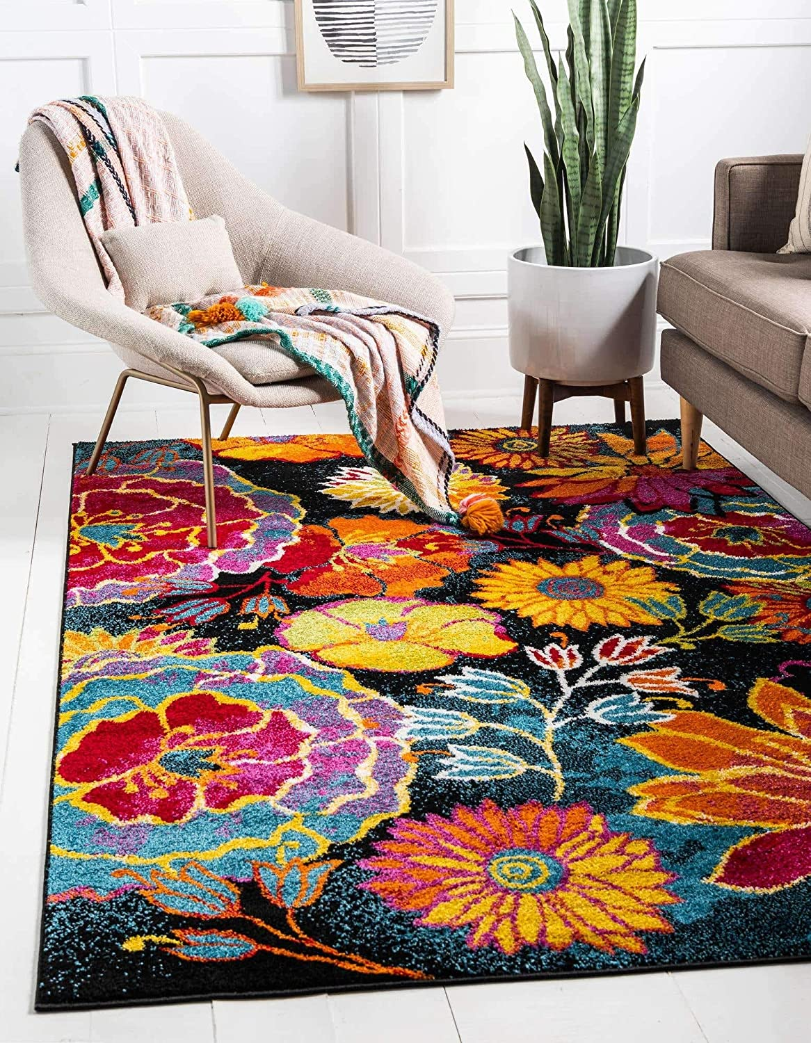 Unique Loom Lyon Collection Modern Floral 5 ☆ very popular 13 Rug Nippon regular agency Area 10 Feet x