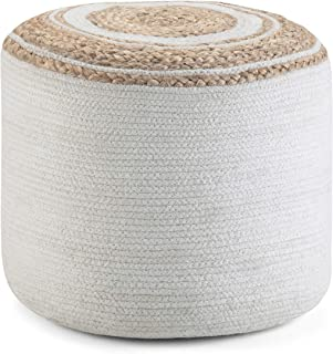 SIMPLIHOME Serena Round Pouf, Footstool, Upholstered in Natural Cotton with Hand Braided Jute, for the Living Room, Bedroom and Kids Room, Contemporary, Modern