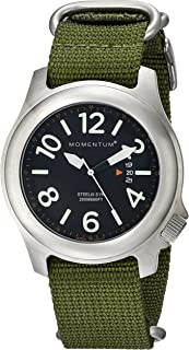 Men's Sports Watch   Steelix Nylon Watch by Momentum   Stainless Steel Watches for Men   Analog Watchwith Japanese Movement   Water Resistant(200M/660FT) Classic Watch -Black / 1M-SP74B7G