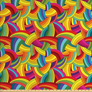 Lunarable Abstract Fabric by The Yard, Funky Rainbow Colored Psychedelic Interlace Circle Pattern Digital Retro Graphic, D...