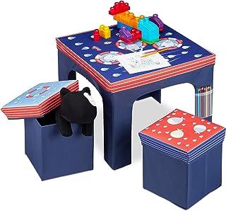 Relaxdays Mobiliario Plegable, Taburetes de Almacenamiento, Mesa Infantil, Azul, DM, plástico y gomaespuma, 48 x 59,5 x 5...