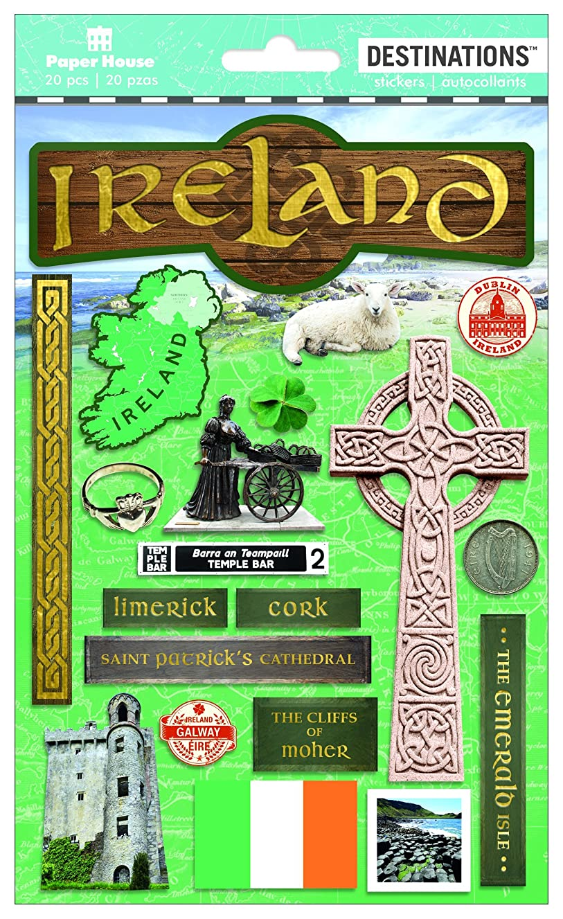 Paper House Productions Travel Ireland 2D Stickers, 3-Pack