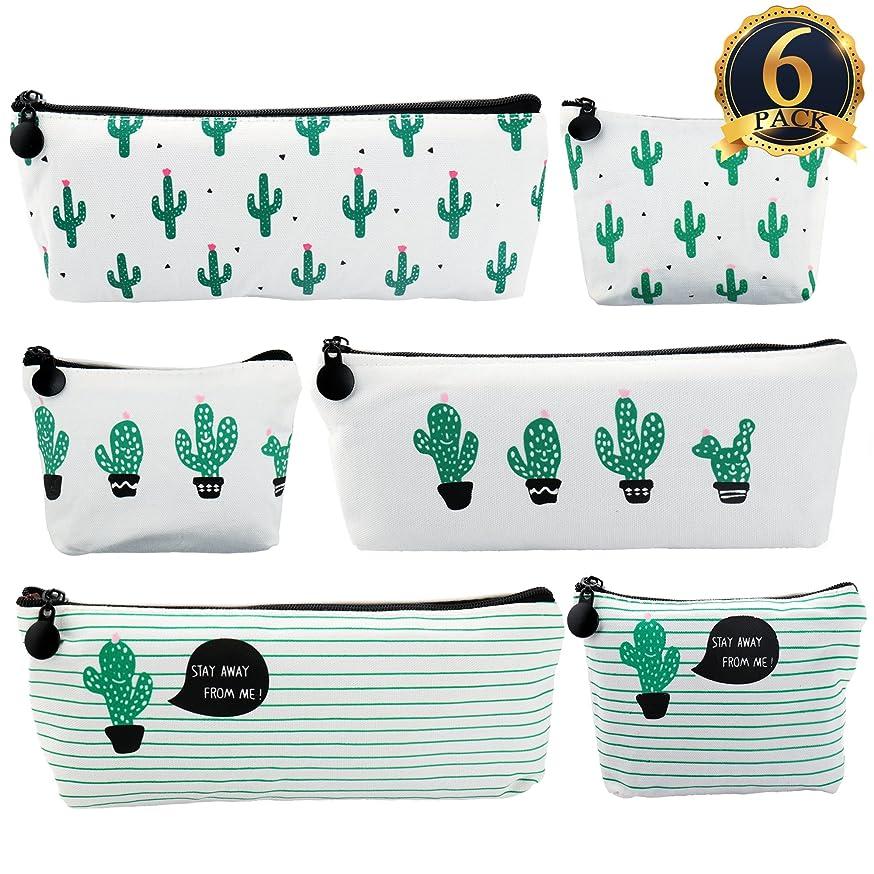 SUBANG 6 Pack Pencil Case New Style Cactus Pencil Bag Cute Canvas Pencil Box Makeup Bag