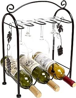 Black Lzttyee European Style Iron 5-slot Heart Design Under Cabinet Stemware Rack Hanger Hanging Wine Glass Organizer Storage Holder