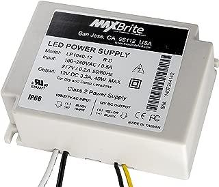 40W LED Power Supply, 12V DC Output, 100-277V AC Input, IP66 Waterproof, UL/cUL Certified, CE, RoHS, Class 2