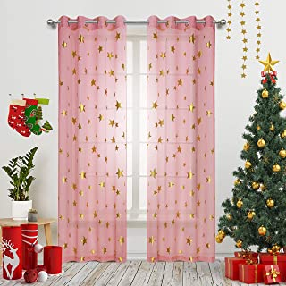 Pink Star Print Curtains Sheer Window Drapes with Gold Twinkle Star for Living Room 2 Panels Grommet Thin and Soft Cosmic Theme for Bedroom and Space-Loving Grown-ups 63 inch Length