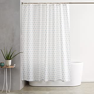 AmazonBasics Shower Curtain with Hooks – 72 x 72 Inch, Blue Squares